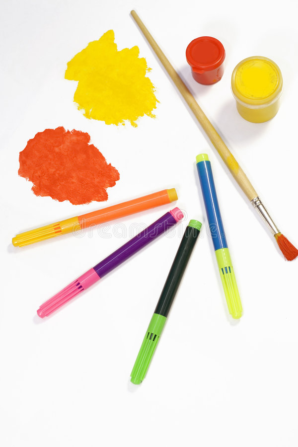 Download Paint and pencils stock image. Image of yellow, colour - 4127095