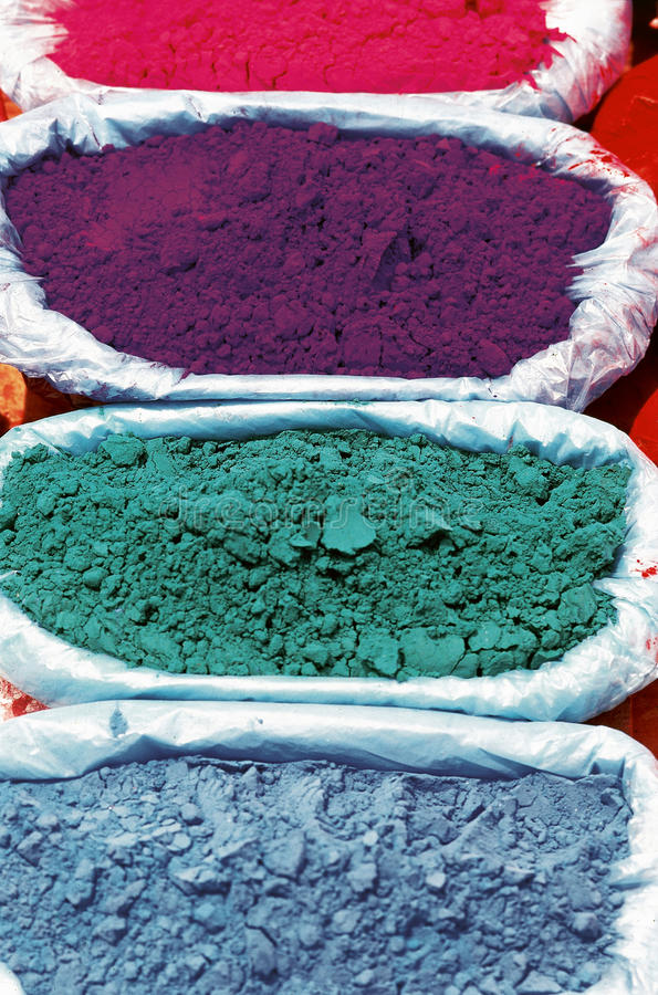 Paint pigment. In the sun in Kathmandu, Nepal royalty free stock image