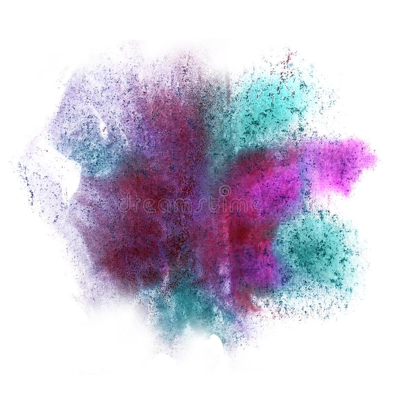 Paint pink, burgundy splash ink blot and white abstract art brus. Hes isolated stock photography