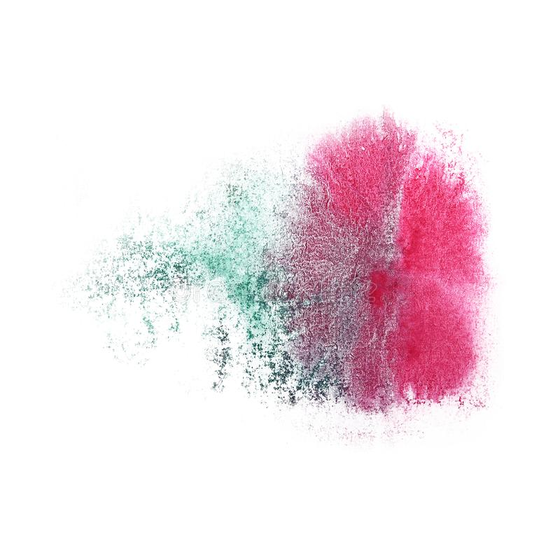 Paint pink, green splash ink blot and white abstract art brushes. Isolated royalty free stock photography