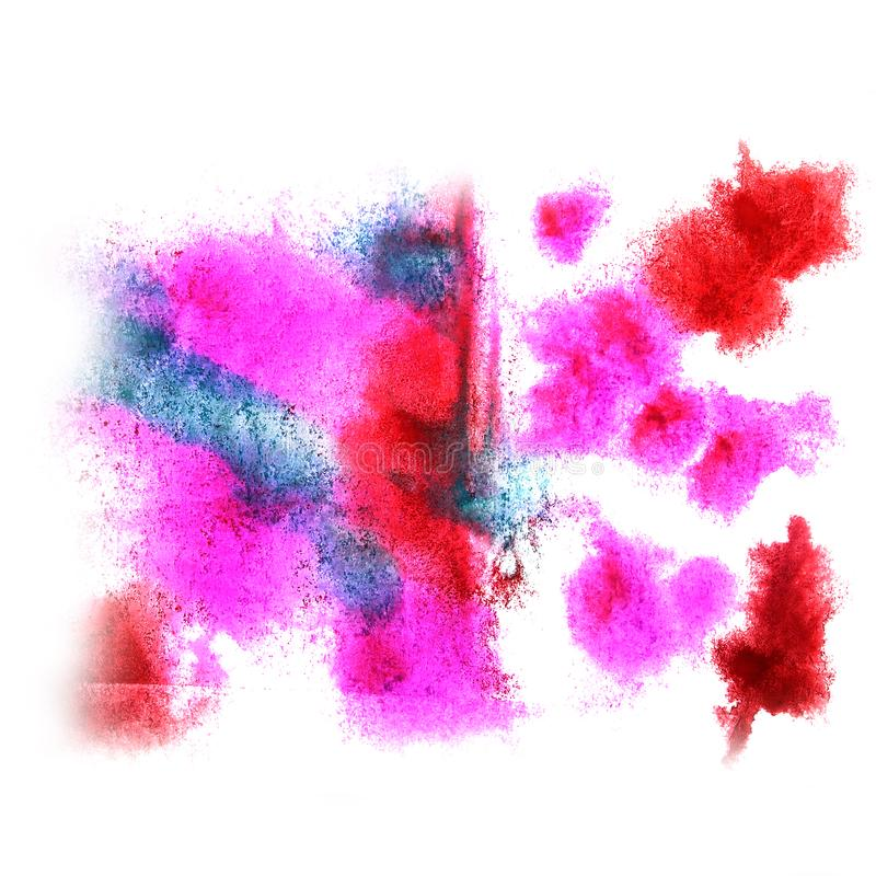 Paint pink, red, green splash ink blot and white abstract art b. Rushes royalty free stock images