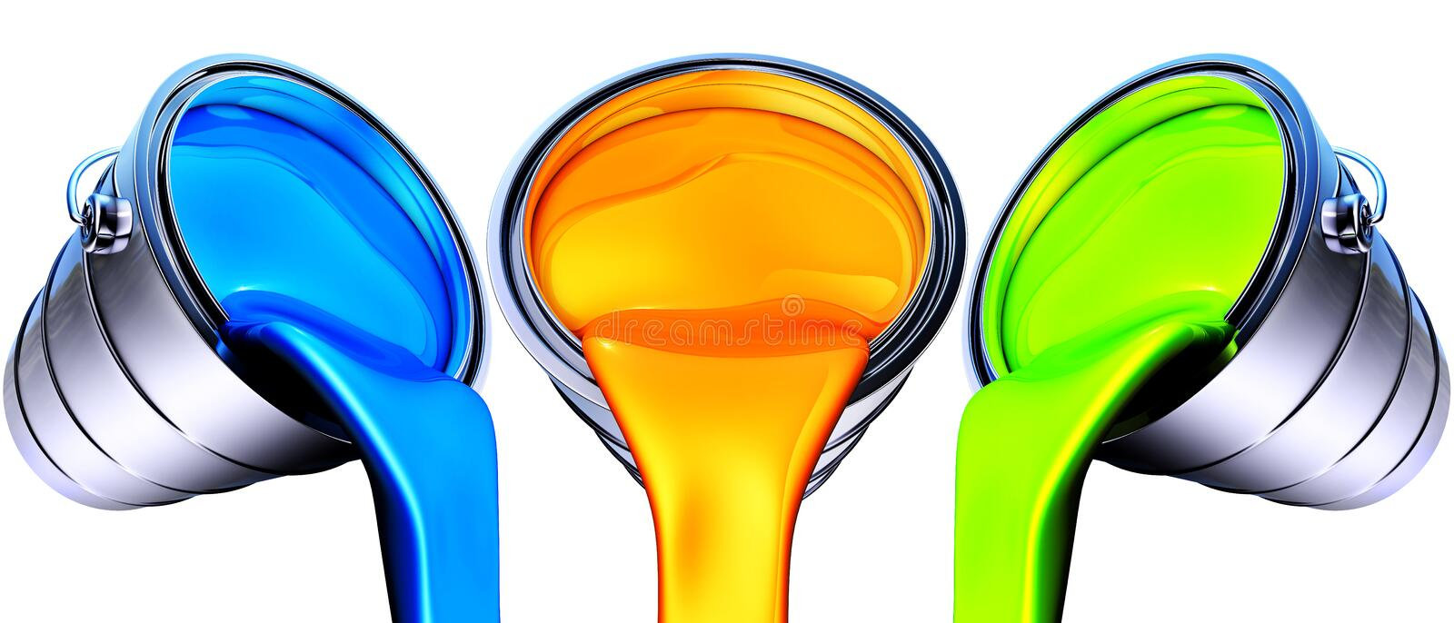 Paint pots. High resolution rendering of paint pots royalty free illustration