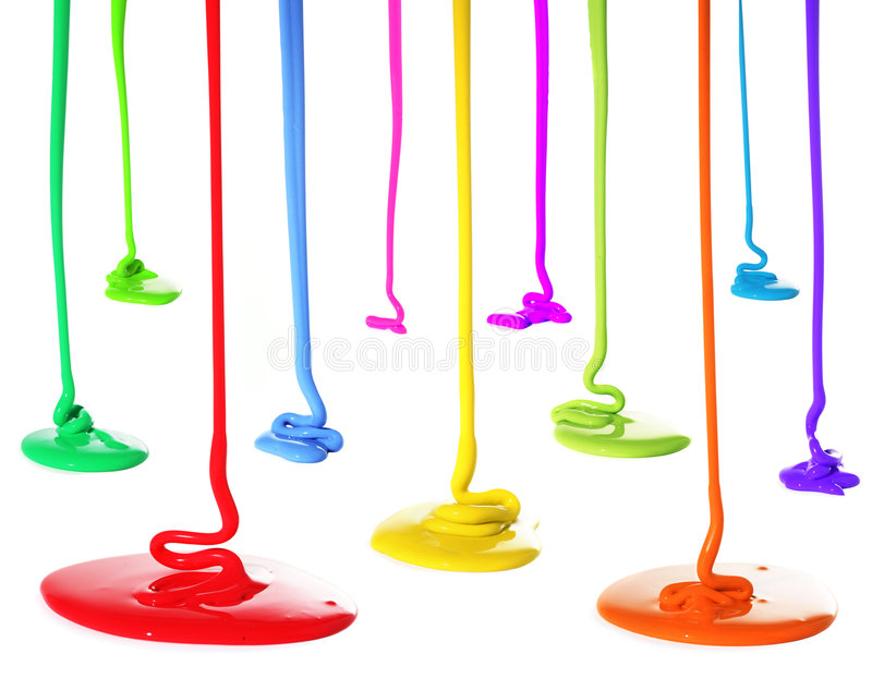Paint pouring. Different colors of paint pouring stock photo