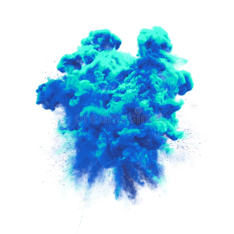 Paint powder blue color explosion particle dust cloud splash abstract texture background. Paint powder or blue color liquid splash with dust glitter smoke stock photos
