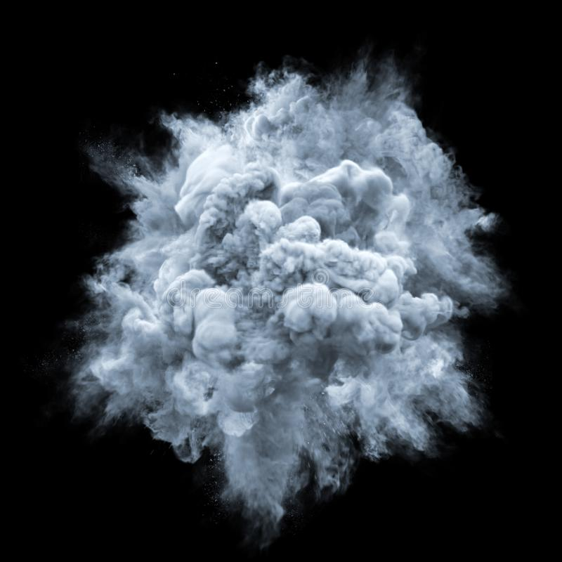 Paint powder gray color explosion particle dust cloud splash abstract texture background. Paint powder explosion or color liquid splash and particles burst royalty free stock image
