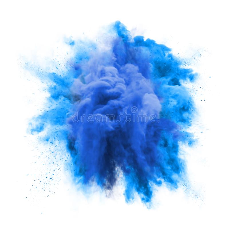 Paint powder green color explosion particle dust cloud splash abstract texture background. Paint powder explosion or abstract color splash of blue particles stock image