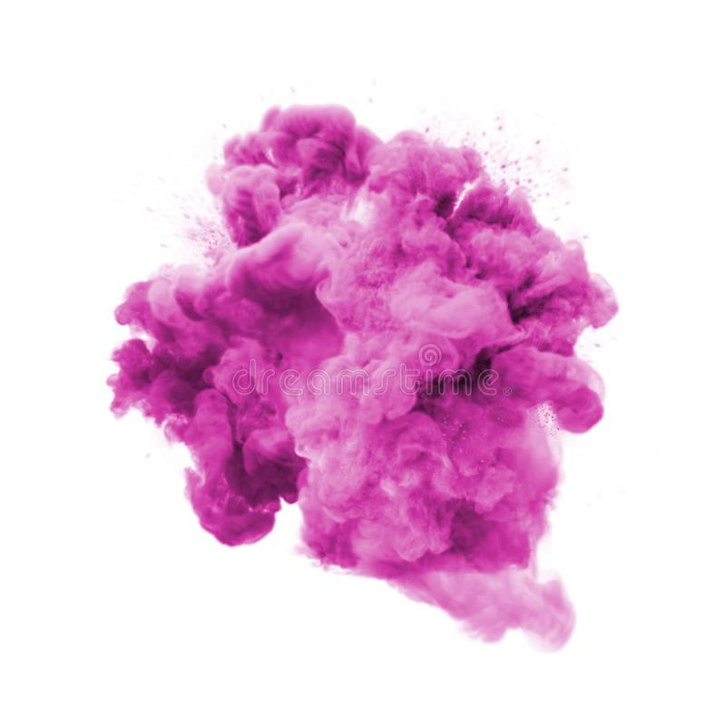 Paint powder pink color explosion particle dust cloud splash abstract texture background. Paint powder explosion or abstract color splash of pink purple stock photo