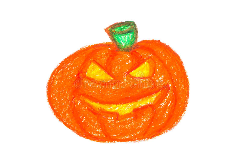 Paint of Pumpkin with Oil Pastels royalty free stock photo