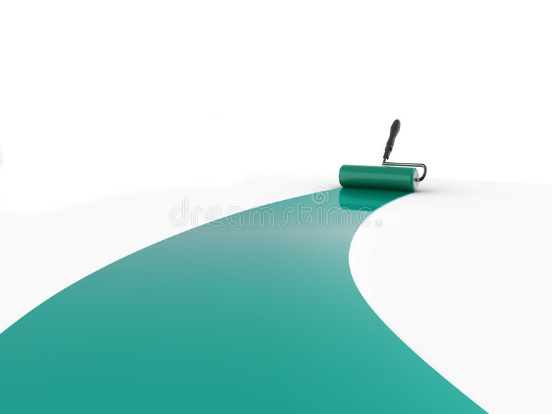 Paint roller. Realistic illustration of a decorators paint roller painting a white surface stock illustration