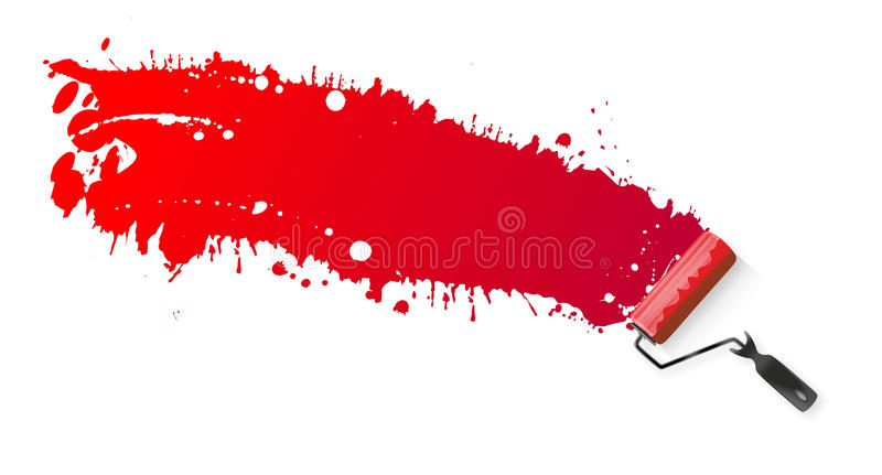 Paint roller. Application of red paint using a paint roller royalty free illustration