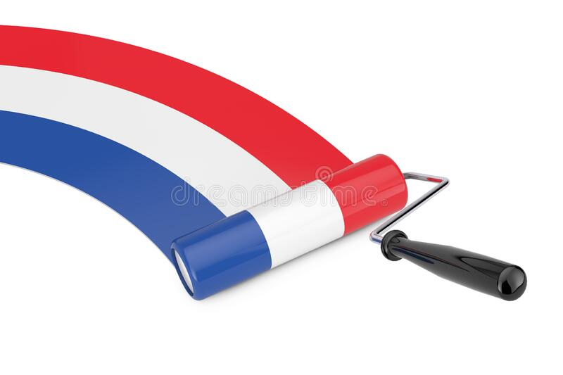 Paint Roller Brush with Netherlands Flag. 3d Rendering. Paint Roller Brush with Netherlands Flag on a white background. 3d Rendering vector illustration