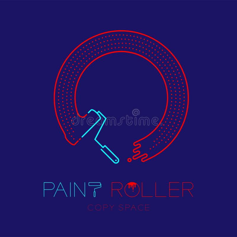 Paint roller and circle frame logo icon outline stroke set dash line design illustration isolated on dark blue background with. Paint roller text and copy space royalty free illustration