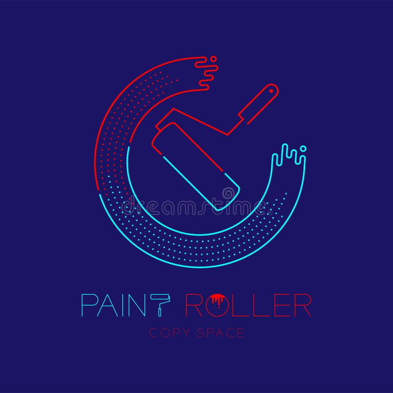 Paint roller and circle frame logo icon outline stroke set dash line design illustration isolated on dark blue background with. Paint roller text and copy space vector illustration