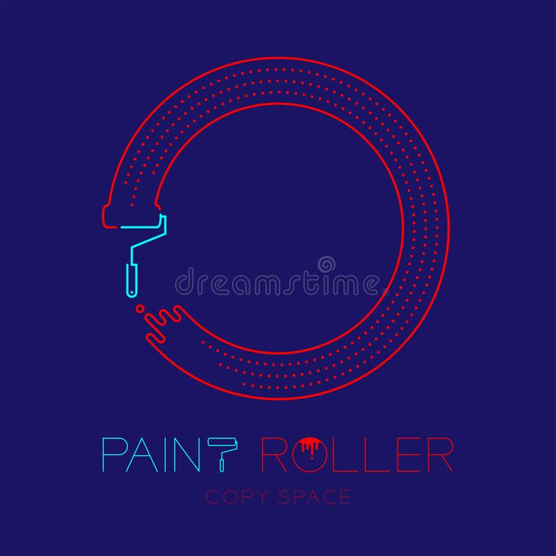 Paint roller and circle frame logo icon outline stroke set dash line design illustration isolated on dark blue background with. Paint roller text and copy space stock illustration