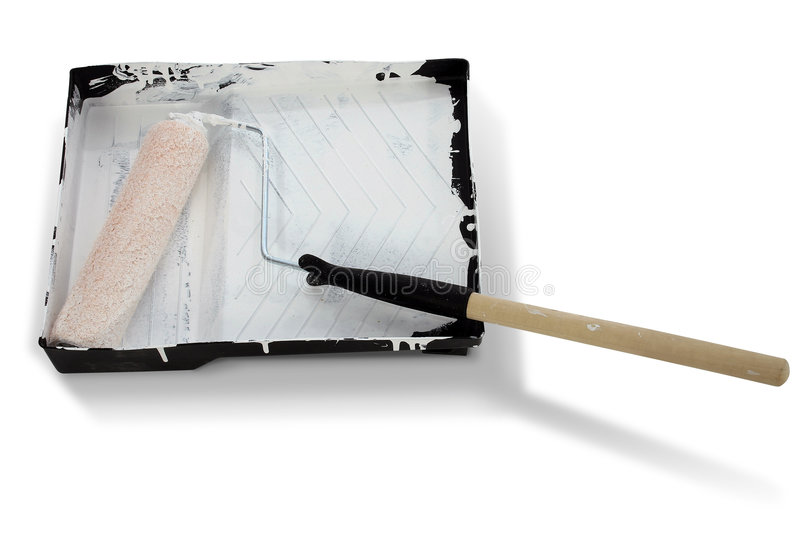 Paint Roller Covered in White Paint with Clipping Path royalty free stock images