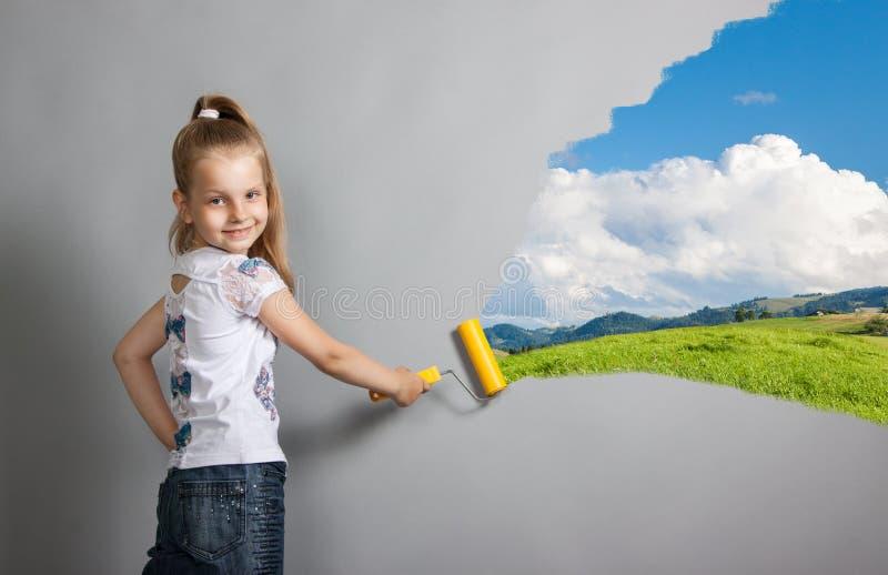 Paint roller girl stock photo