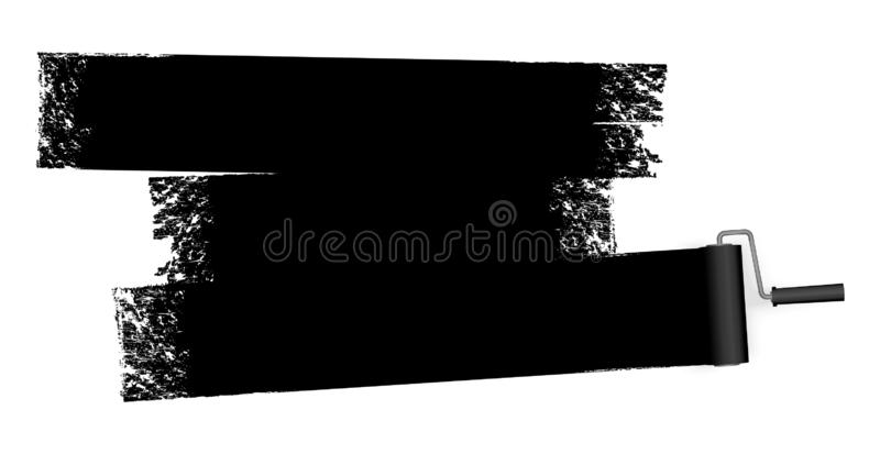 Paint roller with marking. Isolated on white background paint roller with painted marking colored black vector illustration