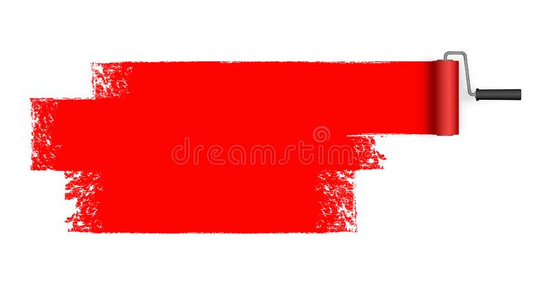 Paint roller with marking. Isolated on white background paint roller with painted marking colored red royalty free illustration