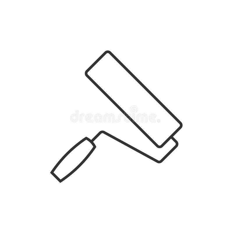 Paint roller outline icon stock illustration