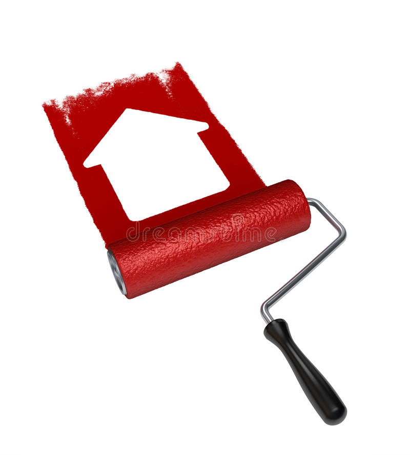Download Paint roller with paint stock photo. Image of renovation - 25054746