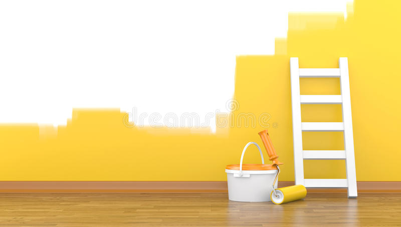 Download Paint, Roller For A Paint And A Ladder Near A Wall Stock Illustration - Image: 26060798