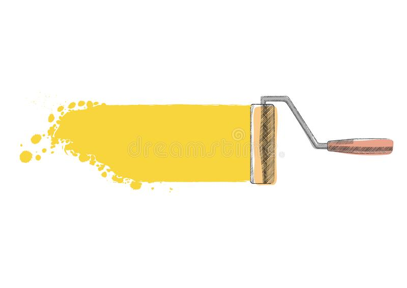 Paint roller. Painted royalty free stock photography