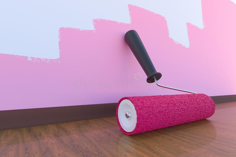 Paint roller with pink color. Room painting concept. 3D rendered illustration. vector illustration