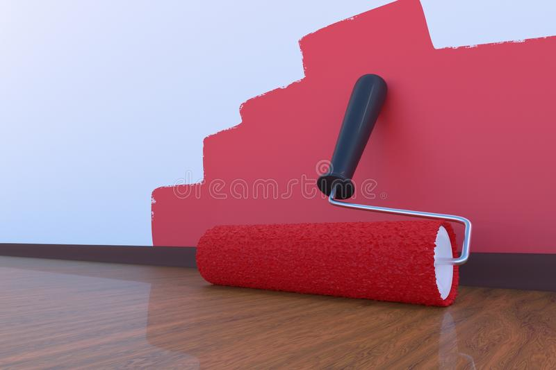Paint roller with red color indoors. Room painting concept. 3D rendered illustration. Paint roller with red color indoors. Room painting concept. 3D rendered royalty free illustration