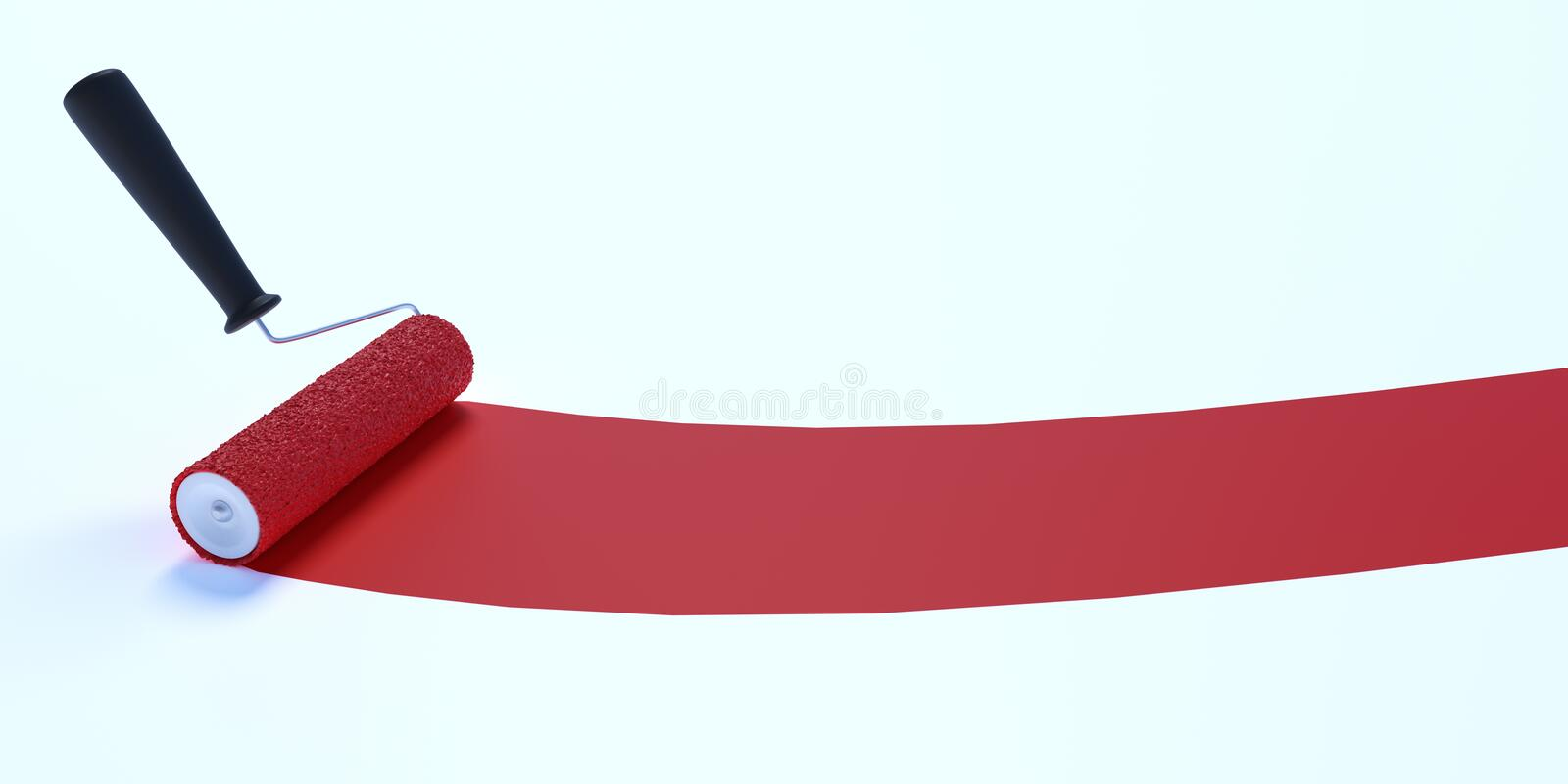 Paint roller with red color. Isolated on white background. 3D rendered illustration. Paint roller with red color. Isolated on white background. 3D rendered stock illustration