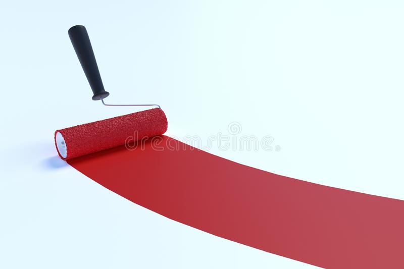Paint roller with red color. Isolated on white background. 3D rendered illustration. Paint roller with red color. Isolated on white background. 3D rendered vector illustration