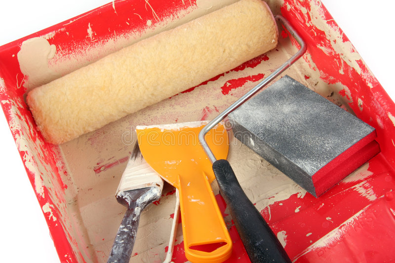 Paint Roller and tray stock image