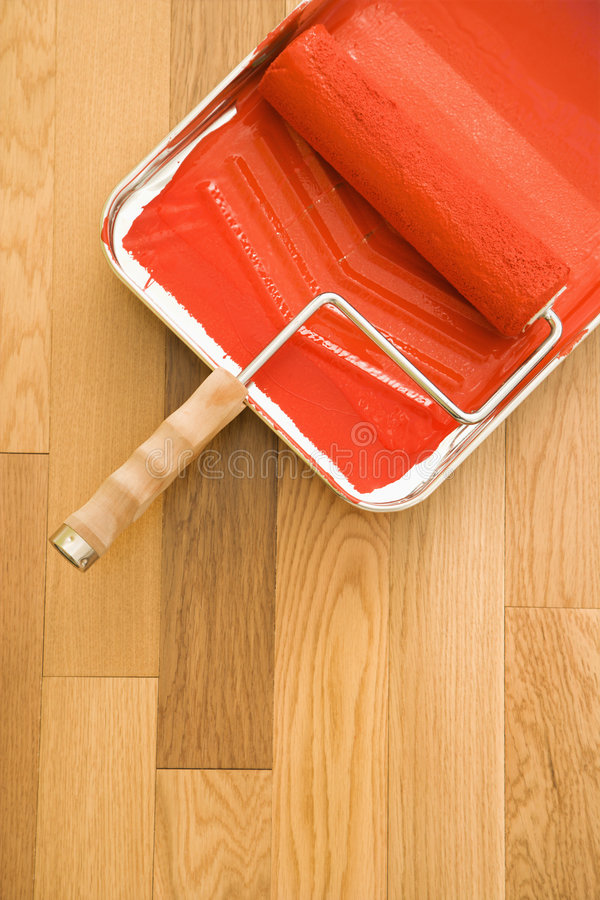 Paint roller and tray. royalty free stock image