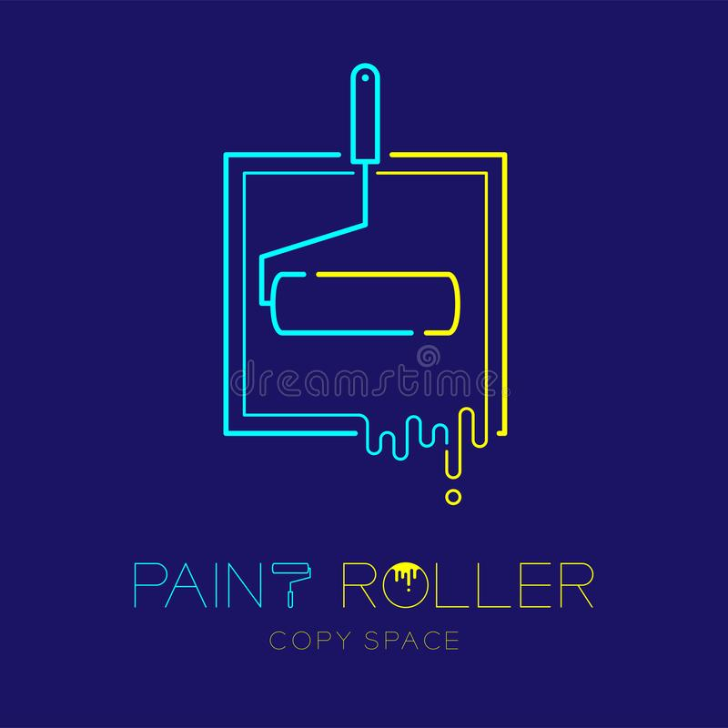 Paint roller with tray frame logo icon outline stroke set dash line design illustration isolated on dark blue background with. Paint roller text and copy space royalty free illustration