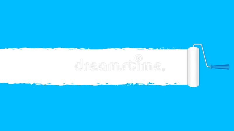 Paint roller white on the blue wall for banner background and copy space text advertising, paint brush roller painted white. The paint roller white on the blue vector illustration