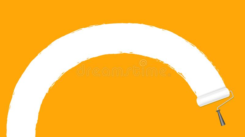 Paint roller white on orange wall background and copy space text advertising banner, paint brush roller painted white on orange. The paint roller white on orange vector illustration