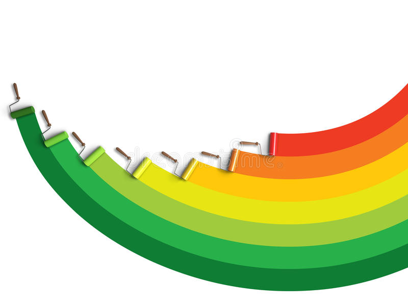 Paint rollers. Painting energy efficiency colors stock illustration