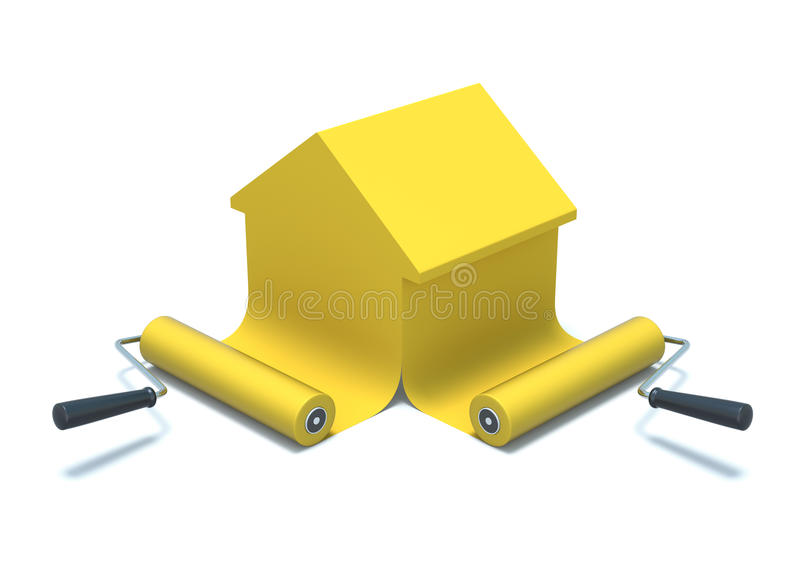 Paint rollers. 3D concept with paint rollers over white background vector illustration