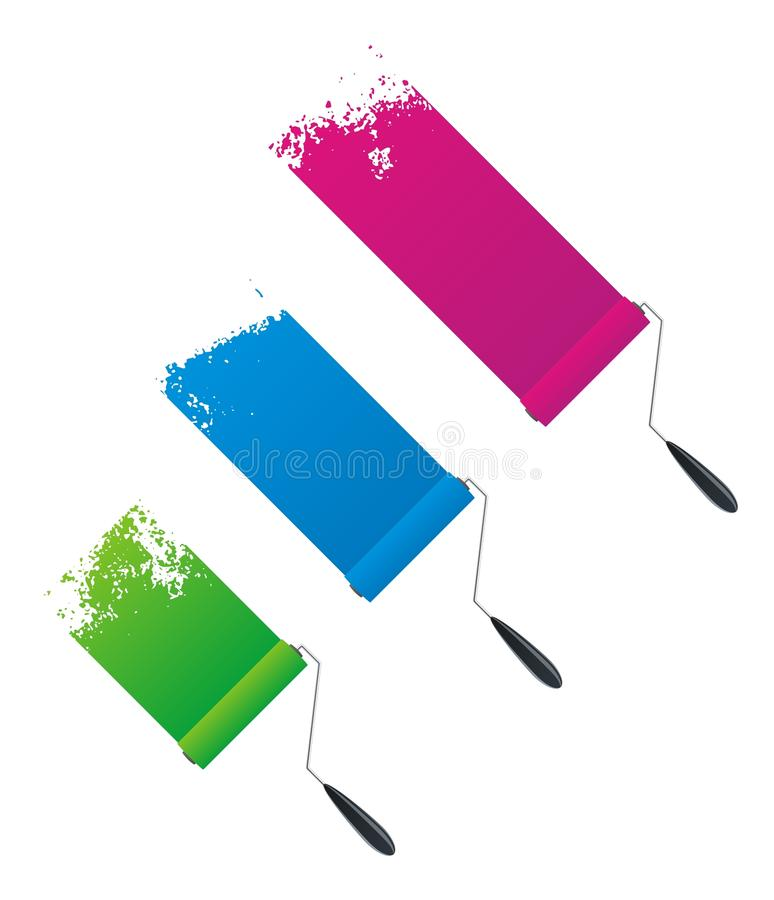Paint rollers. Vector painted banners & paint accessories in different colors stock illustration