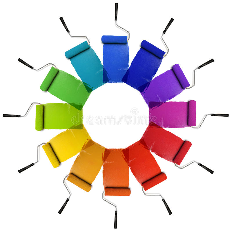 Paint Rollers with Color Wheel Hues royalty free stock photography