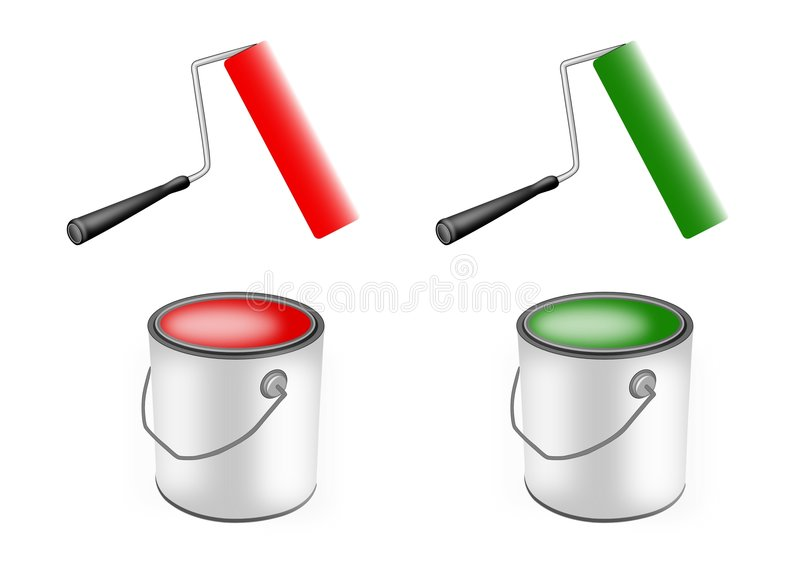 Paint rollers and paint cans vector illustration