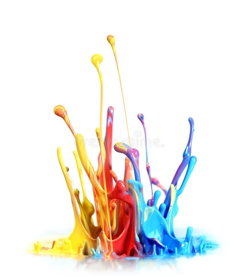 Paint splash. Colorful paint splash on white stock image