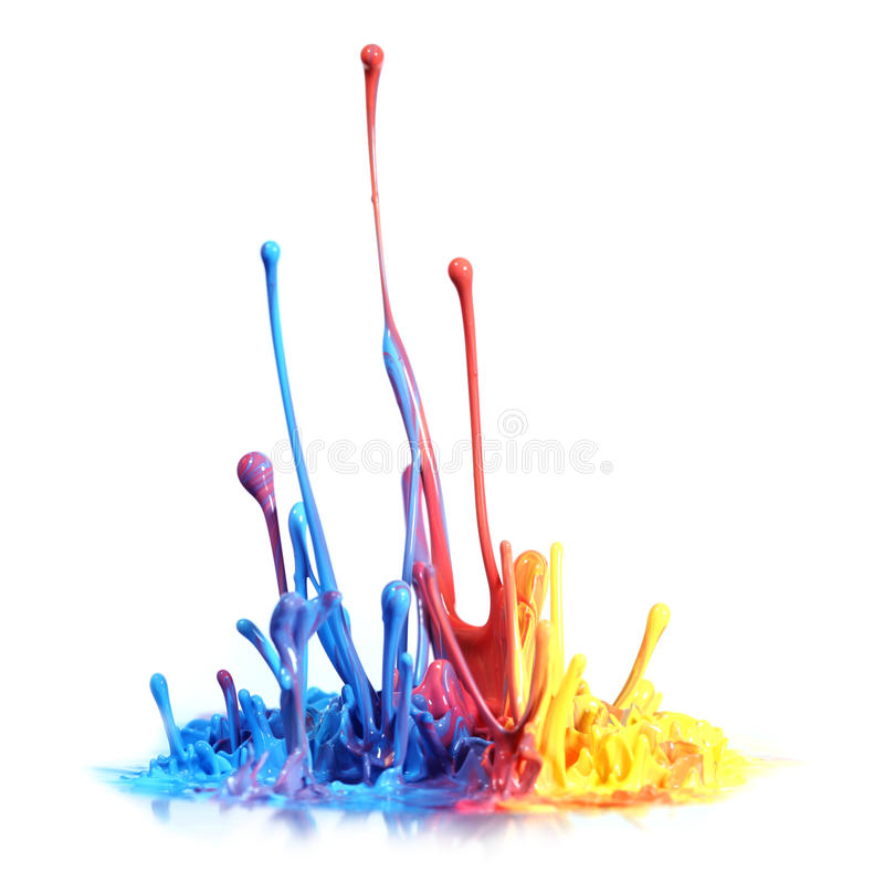 Paint splash. Colorful paint splash over white royalty free stock images