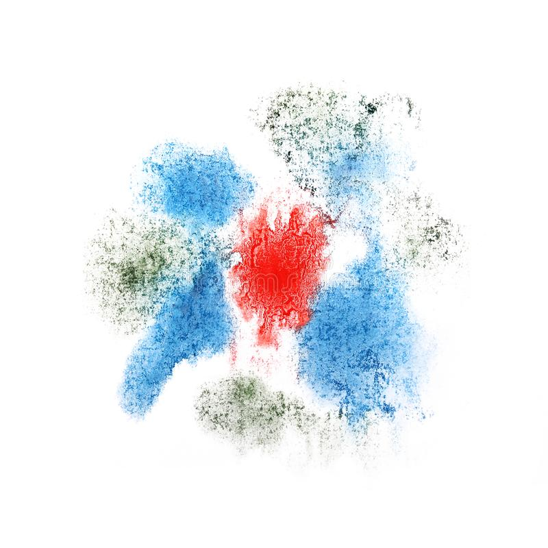 Paint splash blue, red ink blot and white abstract art brushes. Isolated royalty free stock photography