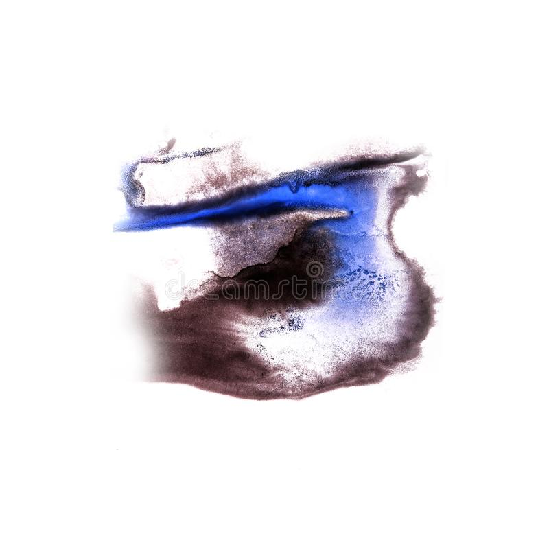 Paint splash brown, blue ink blot and white abstract art brush. Es isolated stock photos