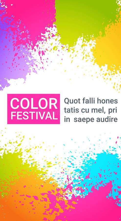 Paint Splash Color Festival Happy Holi India Holiday Traditional Celebration Greeting Cart. Flat Vector Illustration royalty free illustration