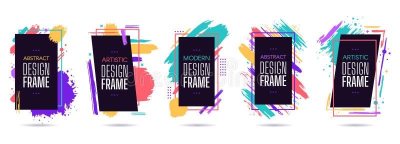 Paint splash design frame. Graphic painted, modern art, dynamic frames, geometric colourful artistic elements, frame. Design vector isolated set. Pack of royalty free illustration