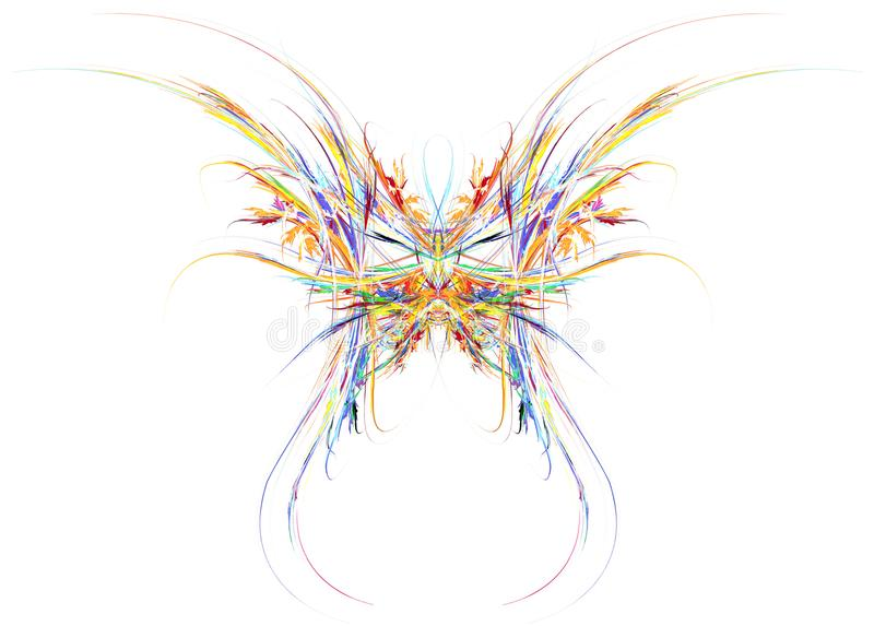 Paints Flame Butterfly Abstract. Paint splash flame butterfly abstract, over white, many color horizontal isolated royalty free illustration