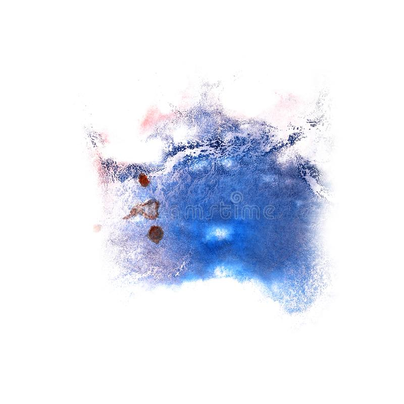 Paint splash ink blue blot and white abstract art brushes isol stock photos