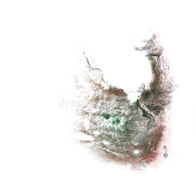 Paint splash ink green, brown blot and white abstract art bru. Shes isolated stock images
