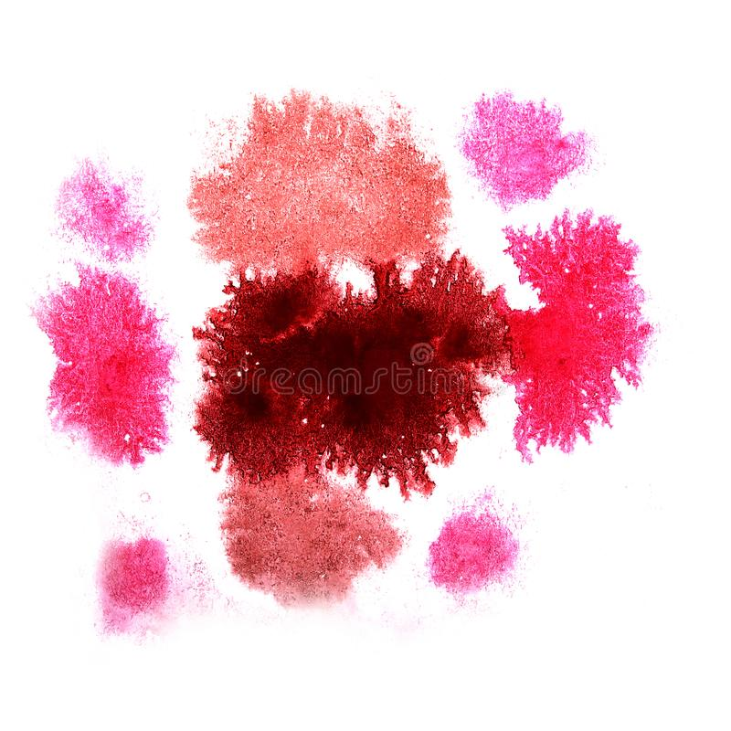 Paint splash ink pink, brown, burgundy blot and white abstract. Art brushes isolated stock image